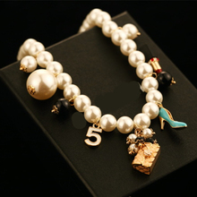 CX-Shirling Brand New Luxury Colorful Pearl Pendant Letter 5 Pendant Women High Quality Bag Shoes Necklace Jewelry