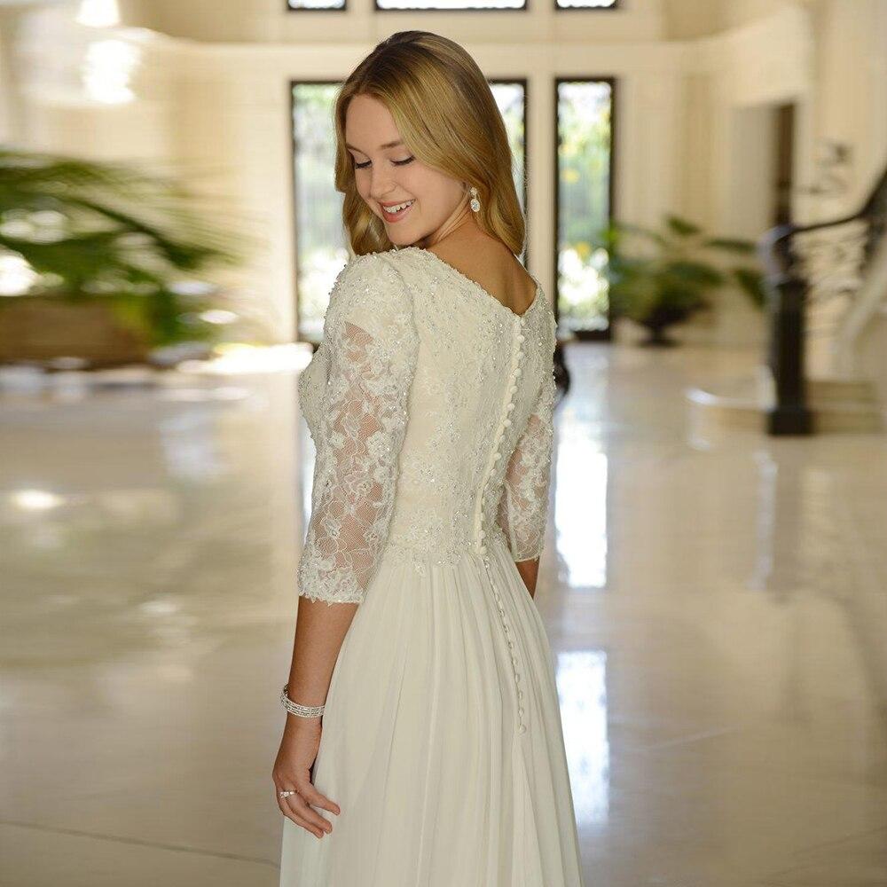 49a4d72df90 Wedding Dress Chiffon Plus size Lace-top Beading Informal long Bride dress  Half-sleeves A-line Custom made 382.6 ₪