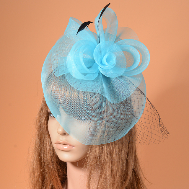 New Mesh Feather Headpiece For WOmen Blue Green Orange Cocktail Dinner  Banquet Ladies Wedding Fascinator Veil 47895e3e65d