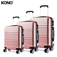 KONO Rolling Hand Luggage Travel Suitcase Hard Shell ABS Boarding Check In Carry on Trolley Case Bags 20 24 28 Inch Set YD1871L