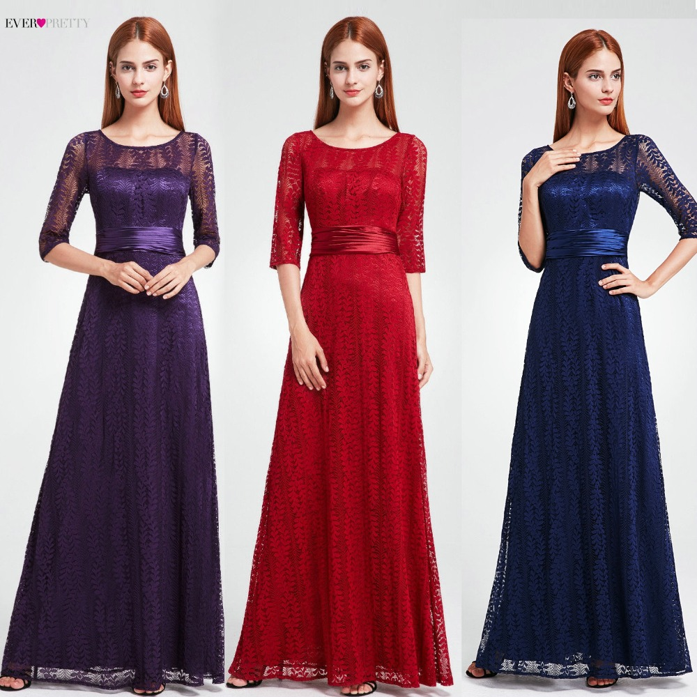 Women Half Sleeve Long Mother Of The Bride Dresses Ever Pretty Burgundy Lace A-line Winter Autumn Mother Of The Bride Long Gowns