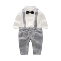 Baby Gentleman Romper Boy Clothes Gray Striped Pattern Baby Boy Jumpsuit Party Costume Newborn Clothes 0 3M 1st Birthday Clothes