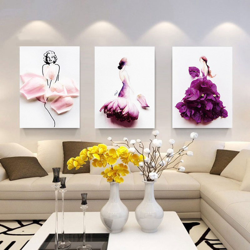 Modern Painting Petal Woman Dancer Posters and Prints Wall Art Canvas Painting Nordic Style Picture for Living Room Home Decor in Painting Calligraphy from Home Garden