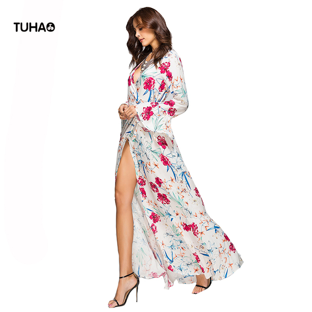59bdb4c77 TUHAO Elegant Floral Print Long Dress Flare Sleeve V-neck High Waist Kimono Maxi  Dresses Women Beach Boho Dresses TA1139C