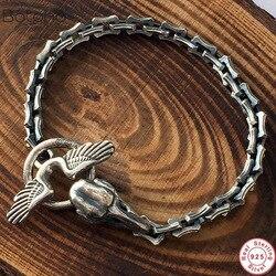 Мужской браслет ручной работы в стиле панк-рок из тайского серебра 925 пробы, череп ворона, мотоциклетный браслет, мужские ювелирные изделия, ...