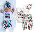Newborn Baby Boys Girls Clothes Tops Romper Pants Leggings Hat Outfits 3PCS Set