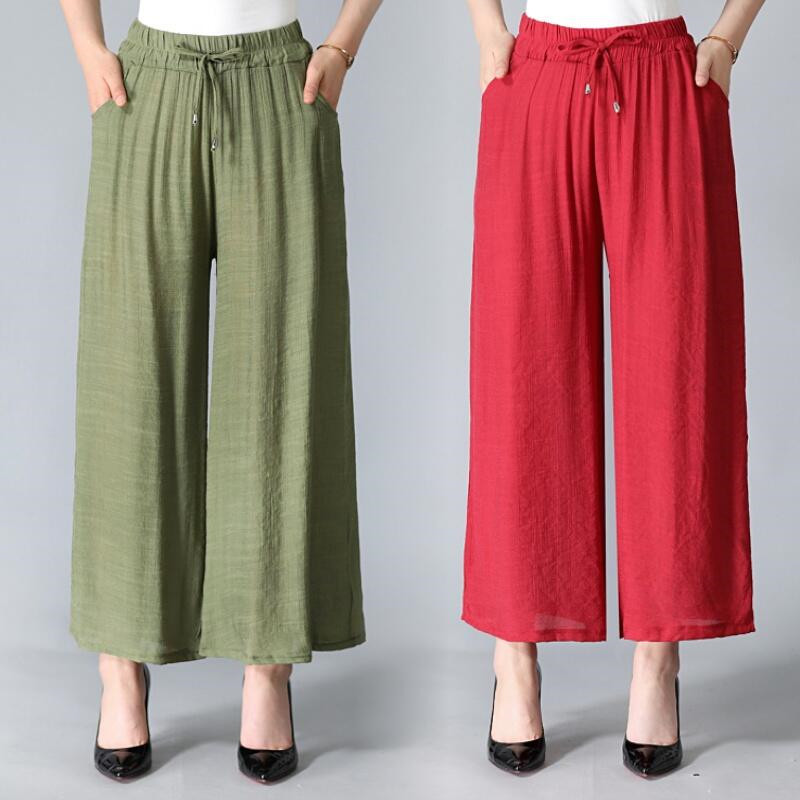 Female Summer Cotton   Wide     Leg     Pants   Comfortable Loose All-Match Straight   Pants   Solid Knitted Drawstring Ankle-Length Trousers