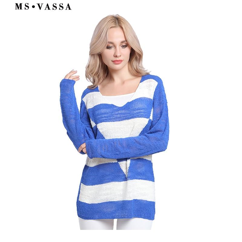 db209d2b3ce MS VASSA распродажа Женские пуловеры осень зима модные повседневные ...