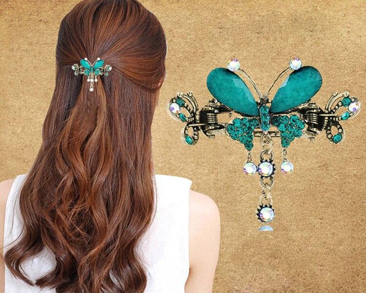 HTB138sRMXXXXXcXXVXXq6xXFXXXo Vintage Women Turquoise Butterfly Flower Hair Barrette With Rhinestone Crystals - 5 Colors