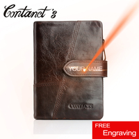 Free Engrave Vintage Genuine Leather Woman And Men Wallets Famous Brand Design Unisex Money Purse Zip