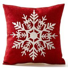 Красивая снежинка в красном цвете веселые рождественские подарки льняная Подушка Чехол для подушки домашний декор 18X18 дюймов Черная пятница