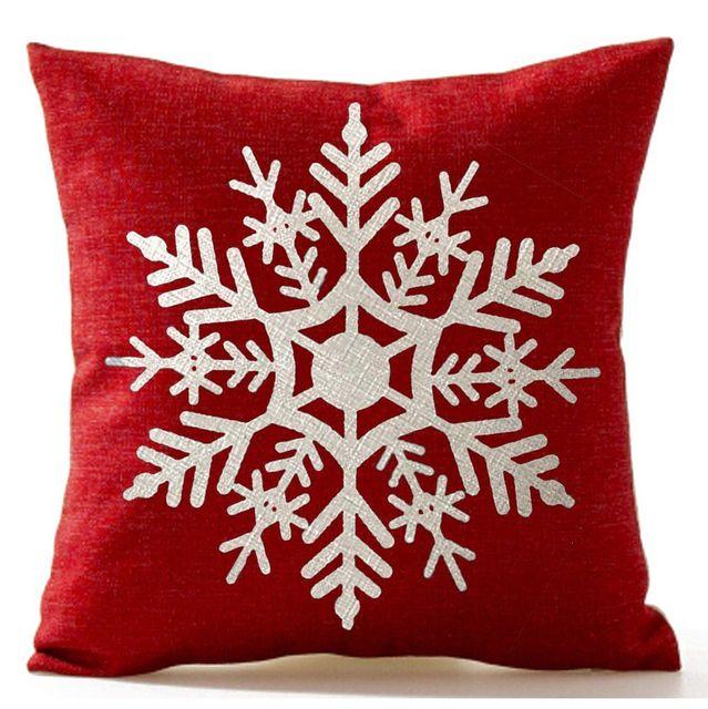 Magnifique flocon de neige en lin 18X18 pouces   Cadeau joyeux noël, housse de coussin en lin, décoration de maison, vendredi noir