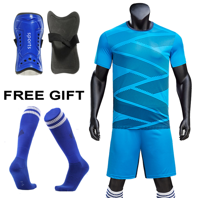 Survetement Football 2019 Kids Adult Soccer Jerseys Set Football Kit Men child Futbol Training Uniforms set free socks Shin pads