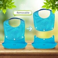 40cm 27cm Multifunctional Removable Baby Bib Waterproof Silicone Cartoon Children S Dinner Bag Baby Feeding Tools