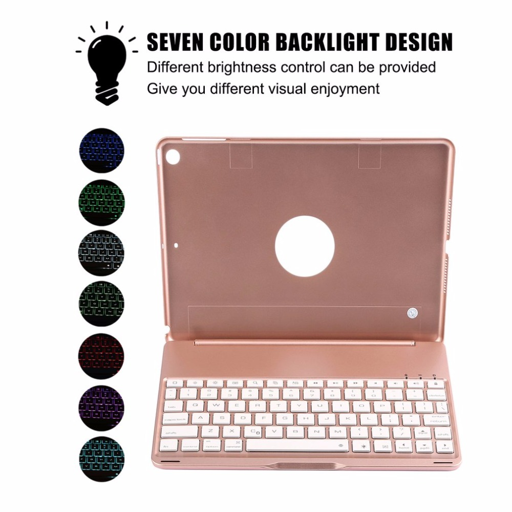 все цены на Fashion Aluminum Alloy Keyboard Case for iPad 9.7 2017 & for iPad Air 1 + Ultra Slim Wireless Bluetooth Keyboard with Backlight онлайн