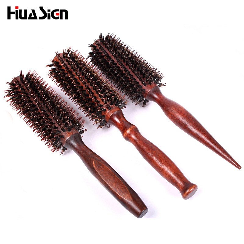 1pcs Advanced Pig Mane Anti-static Heat-resistant Curly Hair Comb Hairdressing Massage Twill Wooden Handle Comb