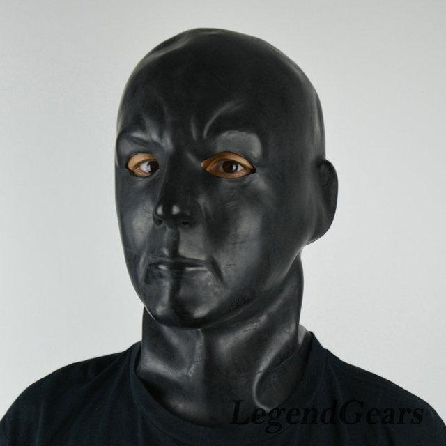 Fetiche de Látex De Caucho Negro Bondage Capucha Capucha de Látex De Goma Máscara de Rostro Humano