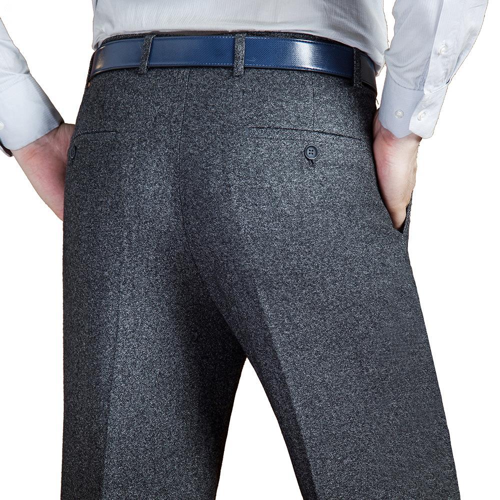 ICPANS Black Suit Pant For Men Loose Wool Men Suit Pants Classic Straight Mens Dress Pants Formal Business