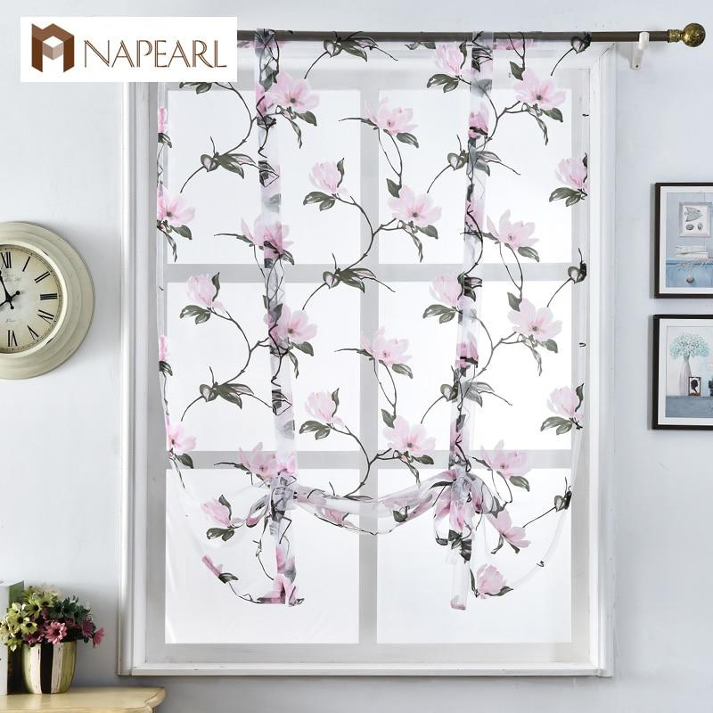 Kitchen short curtains jacquard roman blinds floral white sheer ...