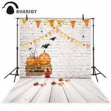 Allenjoy backgrounds for photo studio Bunting Halloween Candy Pumpkin Lamp Brick Wall backdrop new original design fantasy props