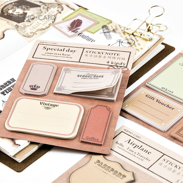 Retro Paper Sticky Notes Scrapbooking Notepad Memo Pad Post It School Office Supplies muji style kraft memo pad blank page mini notepad portable sticky notes post it paper bookmark school office supplies