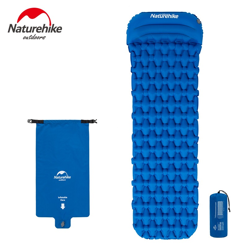 Naturehike Sleeping Pad With Pillow Air Bag New Hand Press Inflating Camping Mattress Ultralight Outdoor Hiking
