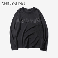 Tamaño extra 3XL Wang relieve diseñador de moda de alta calidad marca-ropa neopreno manga larga Camiseta hombres casual camiseta
