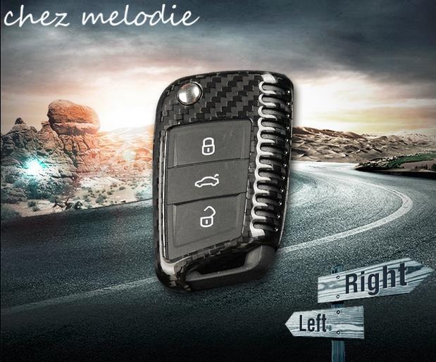 Top quality 3K 240g all real carbon fiber car key case cover frame shell for Volkswagen Golf 7 MK7/R/Rline