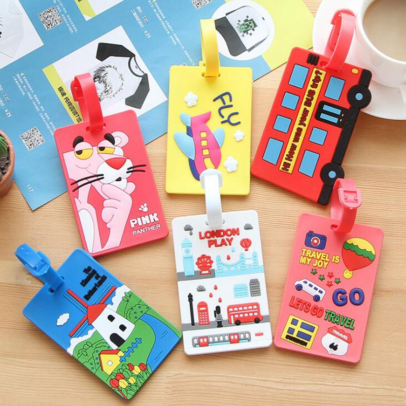 Cute Plane Suitcase Luggage Tag Cartoon Pink Panther ID Address Holder Baggage Label Silica Ge Identifier Travel Accessories