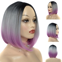 12inch Bobo Head Short Straight Hair Color Tricolor Gradient Wig