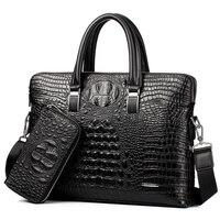 2018 New Fashion 2Pcs Sets Genuine Leather Men Bag Famous Brand Shoulder Bag Messenger Bags Causal Handbag Laptop Briefcase Male