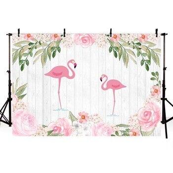 Fondo fotográfico con flamenco Tropical, flor de verano, mar, playa, fiesta de cumpleaños, boda, bandera personalizada, foto de fondo