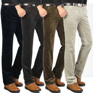 Image 2 - Autumn and winter Corduroy pants men business casual pants loose elastic middle aged straight pants thicken corduroy trousers