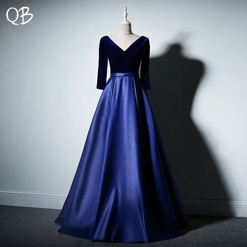 Fashion Style Elegant Blue Red Green A-line Satin Velour Sleeves Evening Dresses 2019 New Fashion Formal Evening Gowns Xh440n Mild And Mellow Weddings & Events