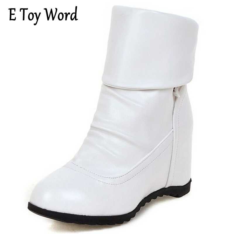 Plus size 39 Fashion New Arrival Winter Mid-Calf Women Boots Black White Brown flats heels half boots Autumn Snow shoes mid calf women boots black white brown big size 34 43 new winter mid calf women boots black white brown for choice flats shoes