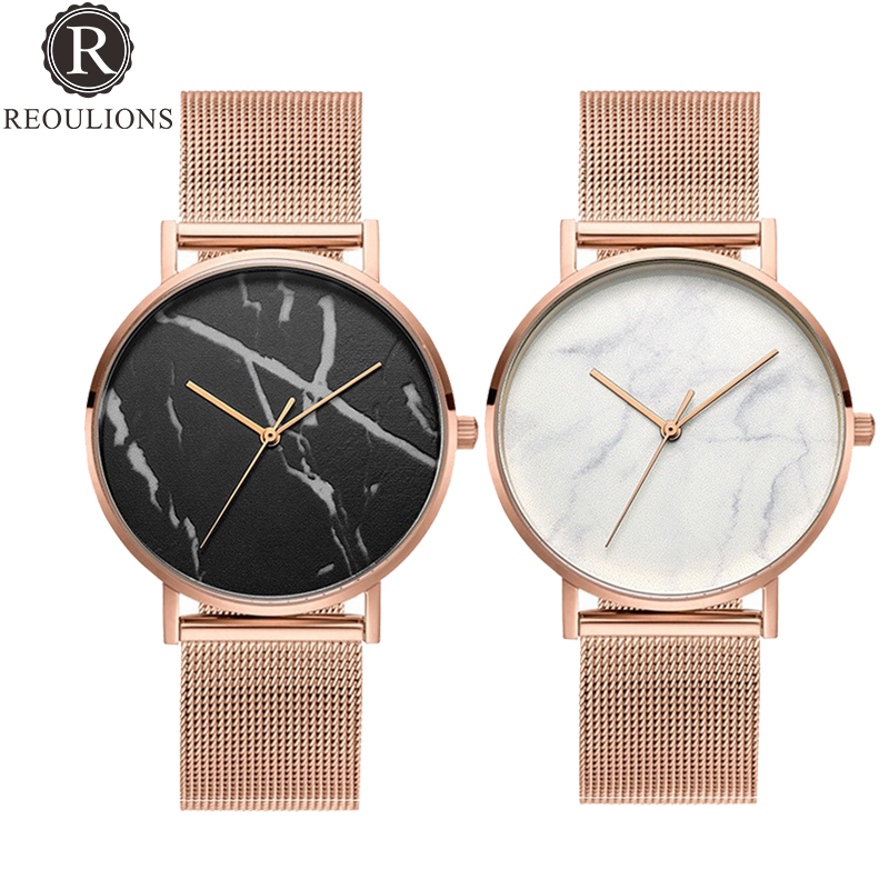 REOULIONS Hot Marble Watch Women Fashion Popular Mesh Rose Gold Quartz Watch Minimalist Watches Simple Wrist Watch Montre Femme