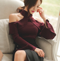 2017 Spring New Fashion Women Shirts Full Sleeve Slim Render Sexy Off the shoulder Neck Hung Blouse Shirt Wine Red 4720