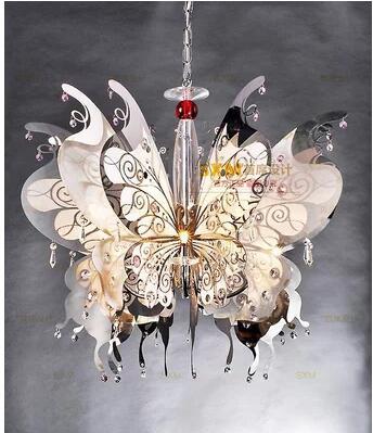 US $308.25 55% OFF|European crystal lamp American Nordic ceiling living  room lighting bedroom butterfly led guest restaurant chandelier-in Pendant  ...