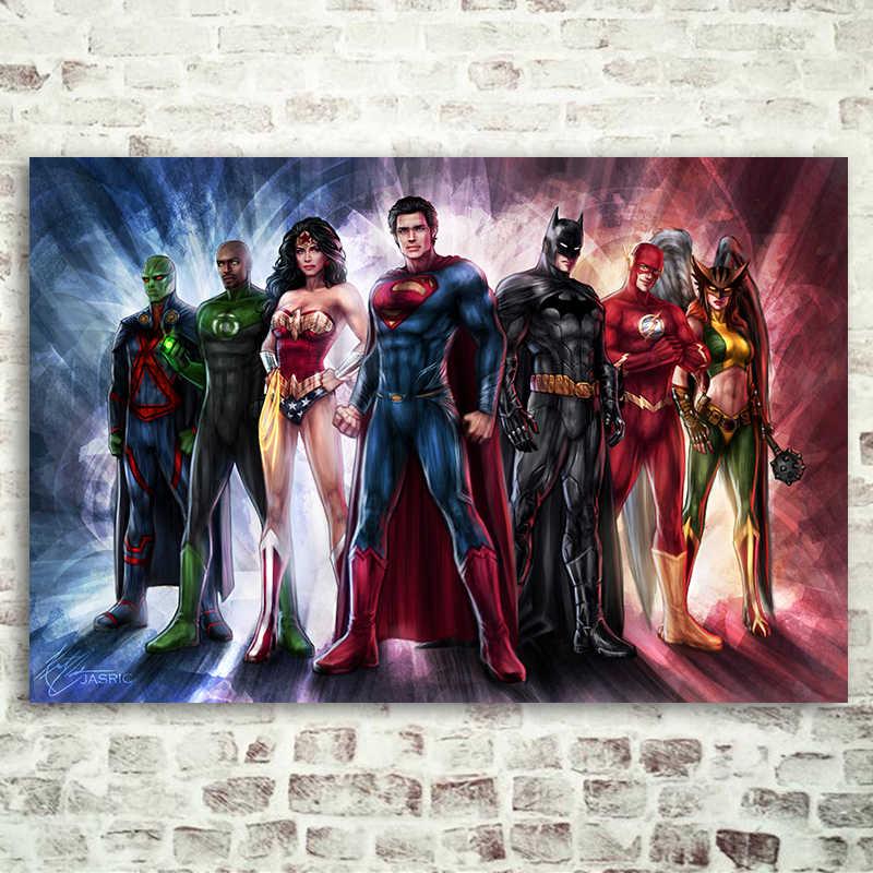 Liga sprawiedliwości komiksy plakaty bohaterów reprodukcje Wall Art the flash Superman Wonder Woman Batman sypialnia wystrój domu jedwabna tkanina