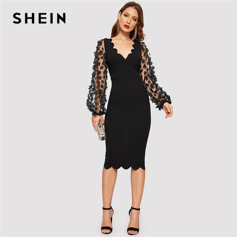 SHEIN Black Elegant 3D Applique Mesh Long Sleeve Scallop Hem Fitted Pencil Dress Women 2019 Summer V-Neck Solid Bodycon Dresses
