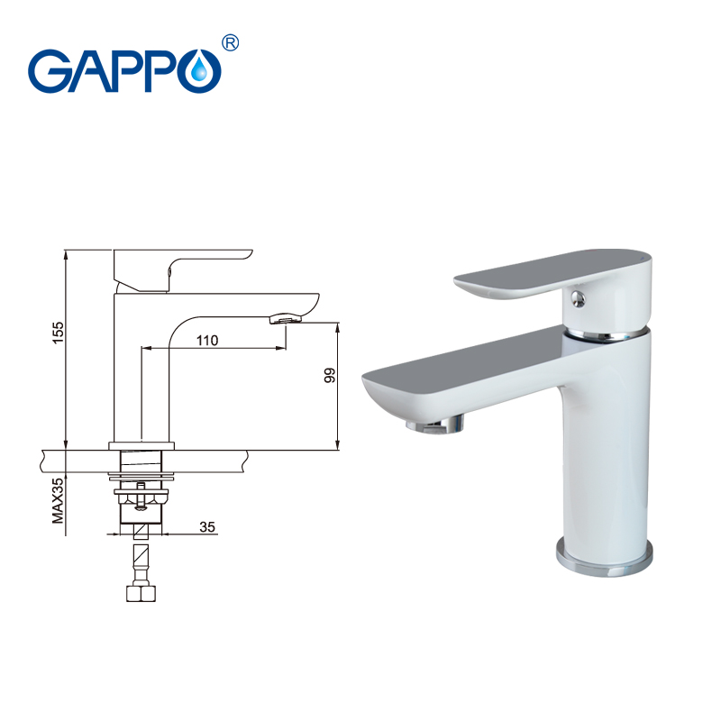 GAPPO basin faucet white bathroom basin mixer tap waterfall faucet bathroom taps torneira para banheiro wash bath faucet basin
