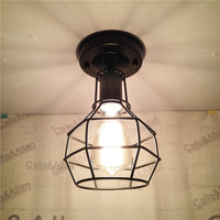 Edison Iron Retro Vintage Ceiling light fixture cage shade E27 Fitting Lamp Bulb Cage Bar Cafe Decor cage Lampshade Lamp