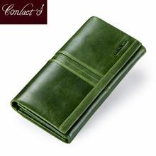 Portafoglio lungo da donna con cerniera borsa per telefono portafoglio in vera pelle nuovo portamonete da donna porta carte portafogli frizione femminile di alta qualità