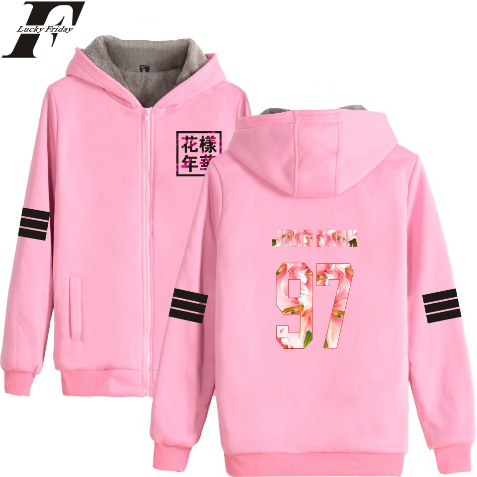 LUCKYFRIDAYF 2017 BTS Kpop Golden Years Harajuku Winter Hoodies Women Thicker Fluff Warm Coats Sweatshirt Zipper Clothes