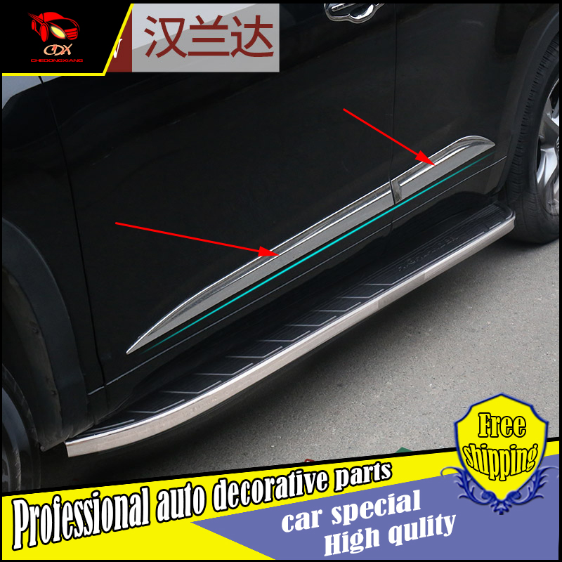 ФОТО NEW ACCESSORIES FOR 2015 Toyota highlander CHROME SIDE DOOR BODY LINE GARNISH MOULDING COVER PROTECTION CAR STYLING