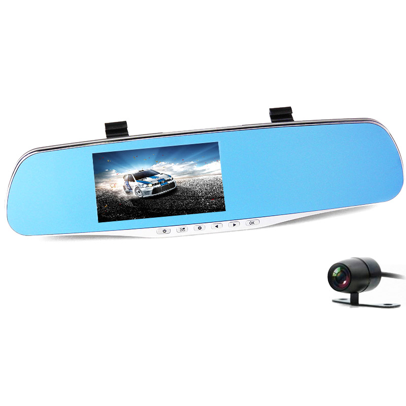 FHD 1080P car camera 4.3-inch Mirror Rearview screen dual lens Car DVR Night Vision rearview mirror auto dvrs Stop Recording 17