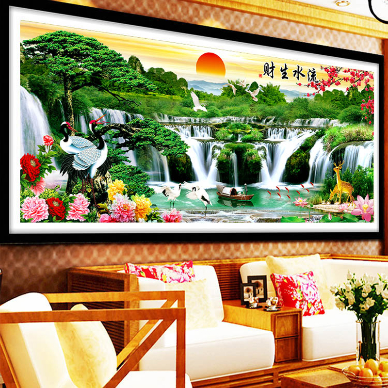 New Landscape painting Diamond drawing full China Welcome Song Diamond embroidery Cross Stitch Rhinestone Cube drill round Iion