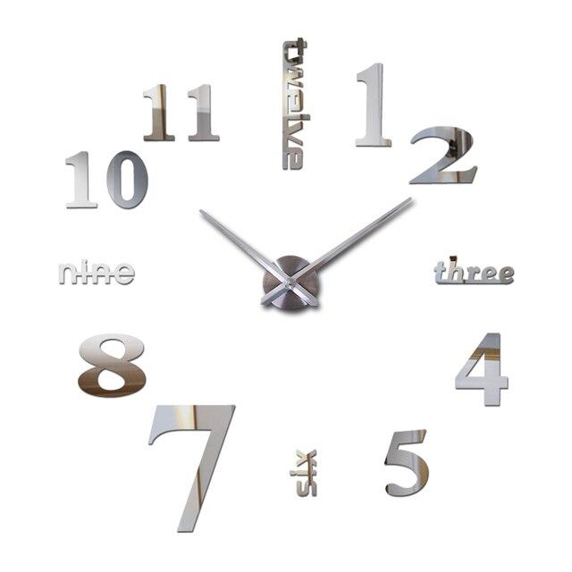 new wall clocks acrylic mirror digital watch horloge 3d wall sticker Home Decoration Living Room Quartz watch Needle