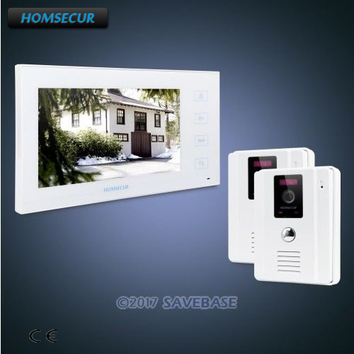 HOMSECUR 7 Video Door Phone Intercom System+White Camera+White Monitor for Home Security 2C1M homsecur 9 video door entry security intercom ultra large screen monitor 2c1m