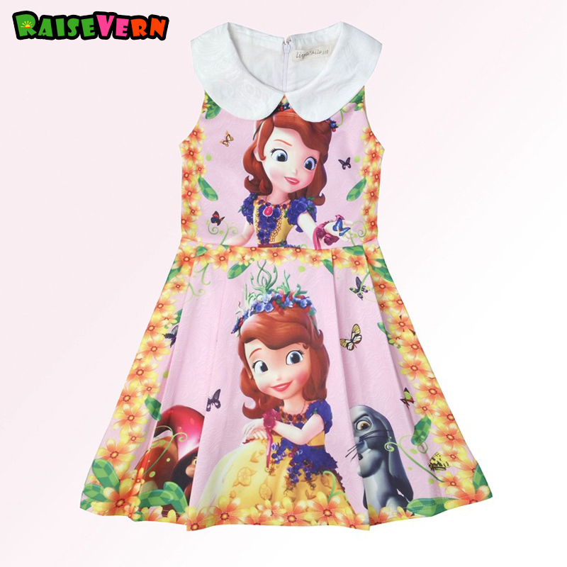 2017 Autumn New Sophia Girl Princess Dress 3D Printed Cartoon Turn-down Collar Halloween Show Children Dress Kids Party Clothes new 2016 frozen sofia princess fluffy dress big petals princess sophia free shipping spring autumn girl dress 3 7t wholesale